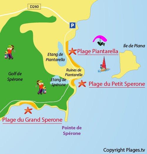 Carte de la plage du Petit Sperone de Bonifacio