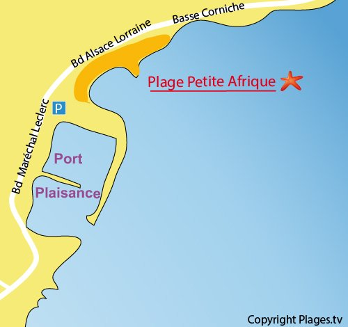 Map of Petite Afrique Beach in Beaulieu