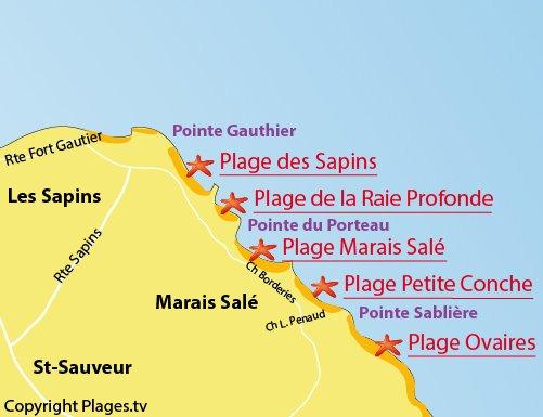Carte de la plage de la Petite Conche sur l'ile d'Yeu