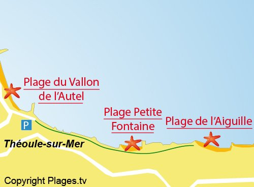 Map of Petite Fontaine Beach in Théoule sur Mer