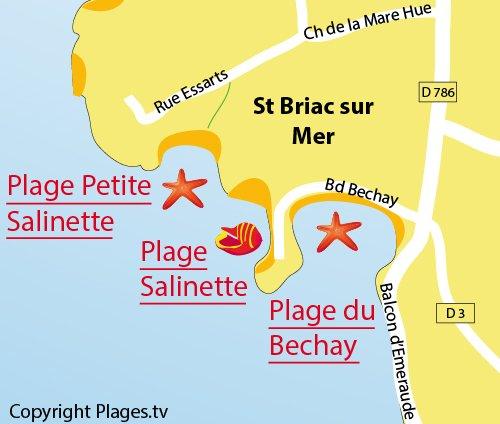 Carte de la plage de la Petite Salinette à St Briac