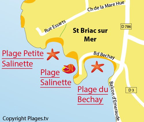 Map of Petite Salinette Beach in St Briac sur Mer