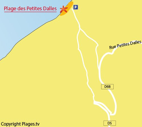 Map of Petites Dalles Beach - Normandy