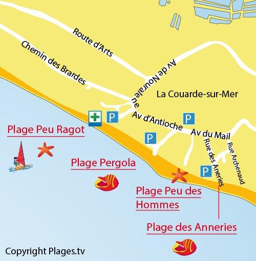 Carte de la plage Peu des Hommes sur l'Ile de Ré