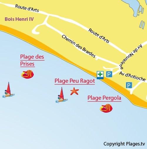 Plan de la plage de Peu Ragot à Couarde sur Mer sur l'Ile de Ré