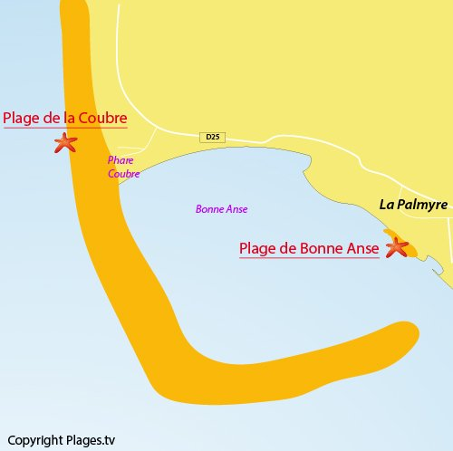 Map of Coubre beach - La Tremblade