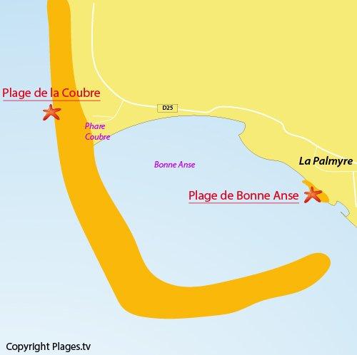 Map of Coubre beach - La Tremblade