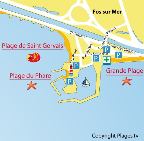 Carte de la plage du Phare à Fos sur Mer