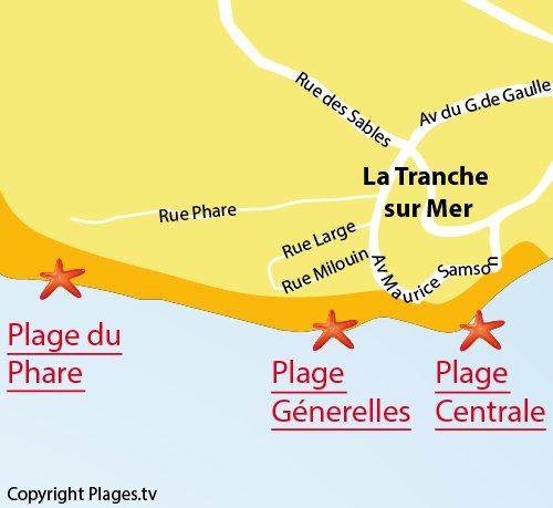 Carte de la plage du Phare à La Tranche