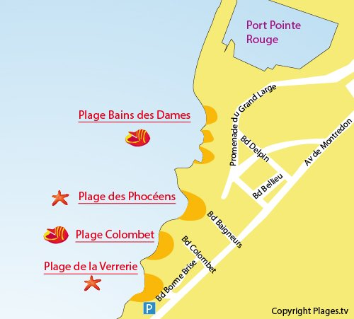 Map of Phocéens Beach in Marseille