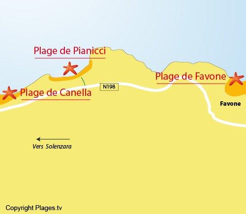 Carte de la plage de Pianicci à Solenzara (proche Favone)
