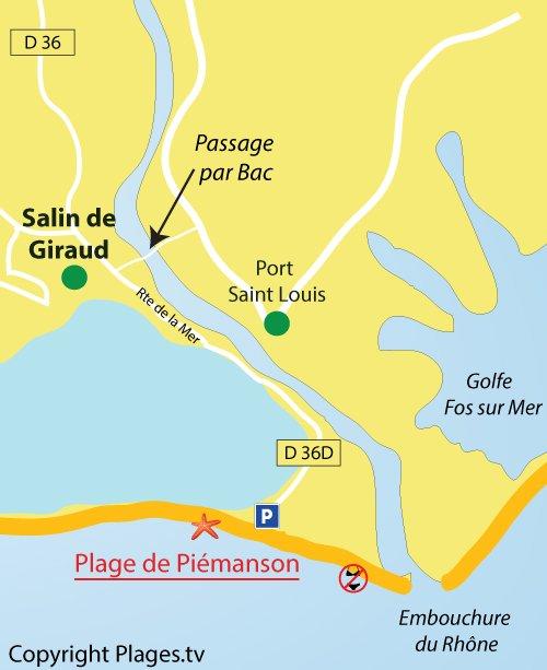 Mappa della spiaggia naturista di Piemanson