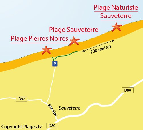 Map of Pierres Noires Beach in Olonne sur Mer
