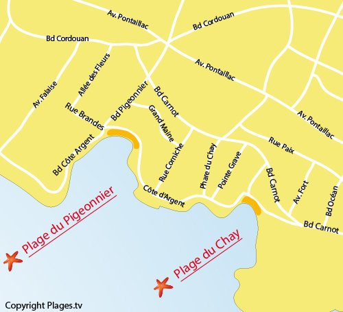 Map of Pigeonnier Beach in Royan