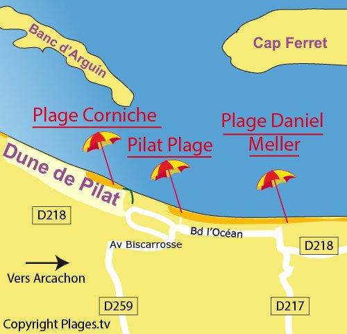 Map of Pilat beach in Pyla sur Mer
