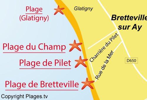 Carte de la plage du Pilet à Bretteville sur Ay