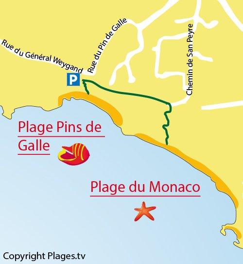 Plan de la plage Pins de Galle au Pradet