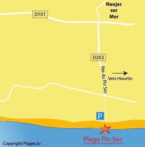 Plan de la plage du Pin Sec à Naujac sur Mer