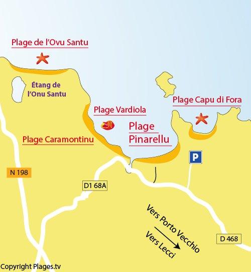 Plan de la plage de Pinarellu à Ste Lucie de Porto Vecchio