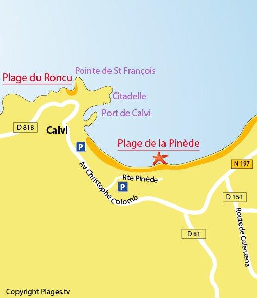 Carte de la plage de la Pinède à Calvi
