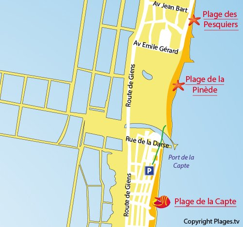 Map of Pinede Beach in Hyères