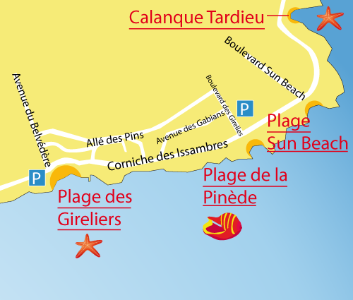 Map of Pinede Beach - Les Issambres - France