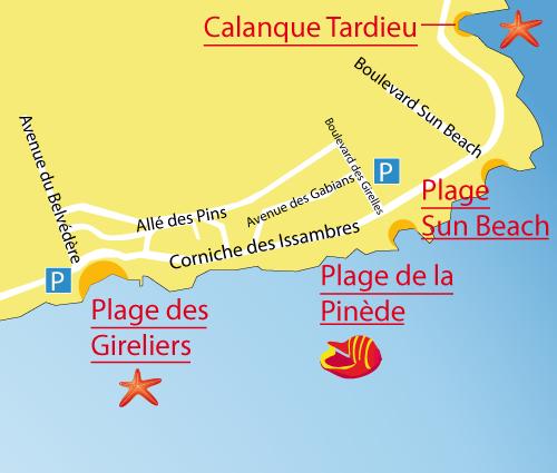 Mappa della spiaggia della Pinède - Les Issambres - Francia