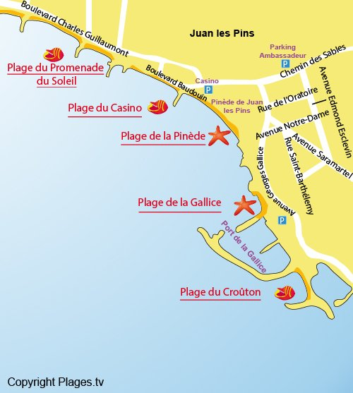 Map of Pinede Beach in Juan les Pins - France