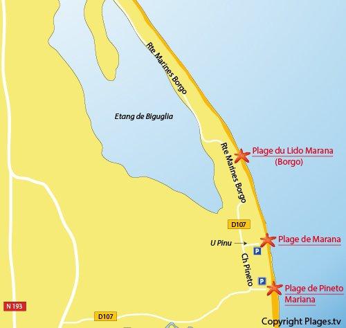Plan de la plage de Pineto à Lucciana (Corse)