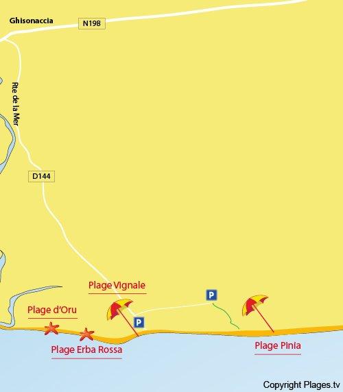 Map of Pinia Beach in Ghisonaccia - Corsica