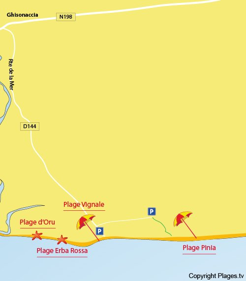 Carte de la plage de Pinia à Ghisonaccia - Corse