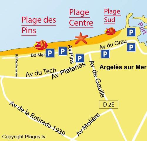 Map of Pins Beach in Argelès sur Mer