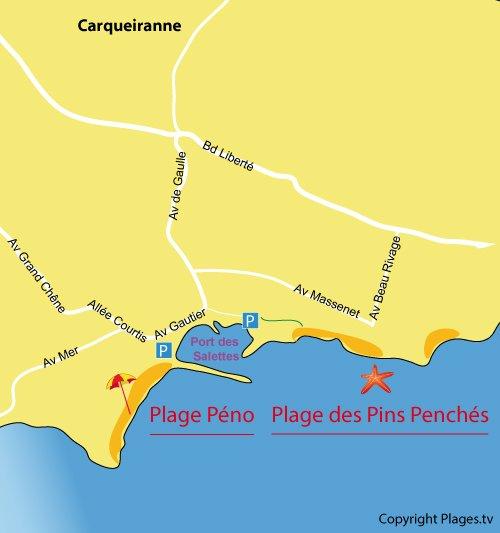 Carte de la plage des Pins Penchés à Carqueiranne