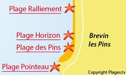 Carte de la plage des Pins - St Brevin les Pins
