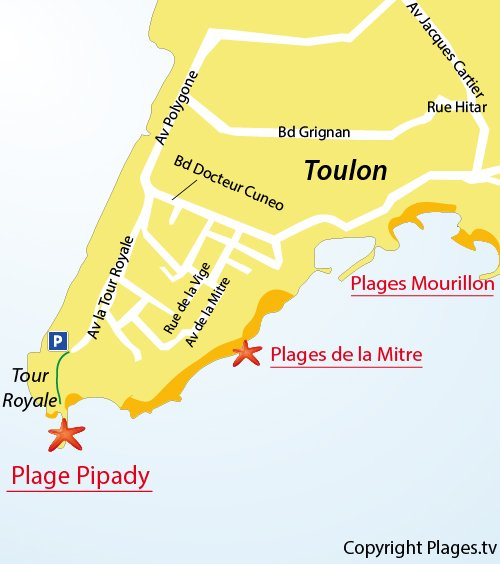 Carte de la plage de Pipady à Toulon