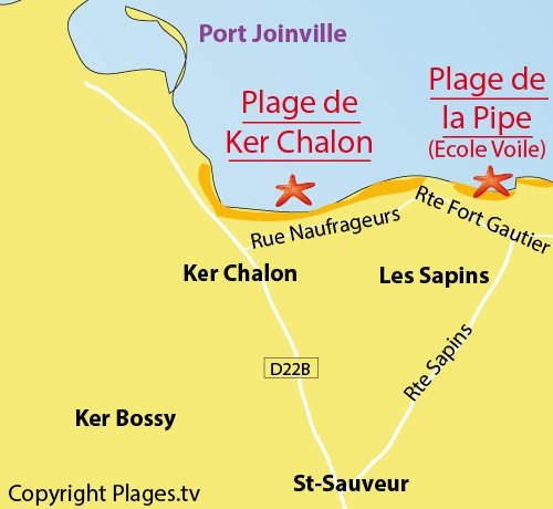 Map of Pipe beach in Ile d'Yeu