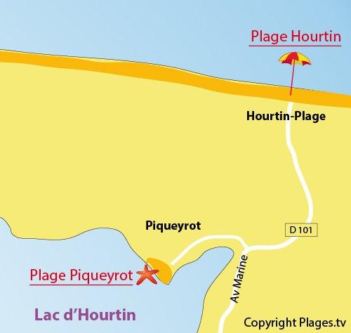 Plan de la plage de Piqueyrot au bord du lac d'Hourtin