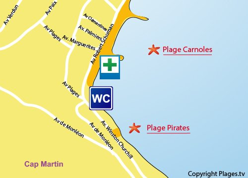 Map of Pirates Beach in Roquebrune Cap Martin