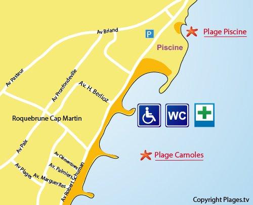 Carte de la plage de la Piscine à Roquebrune Cap Martin