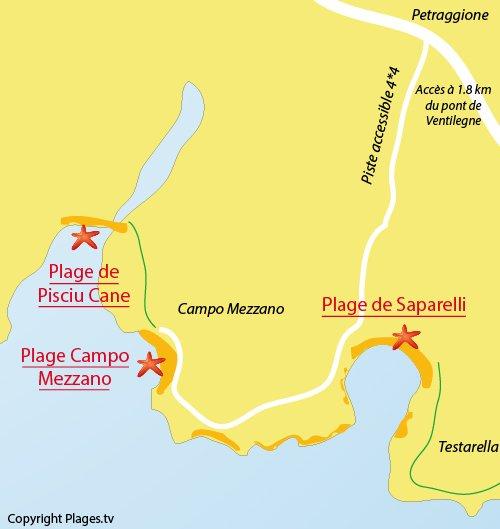 Carte de la plage de Pisciu Cane à Bonifacio