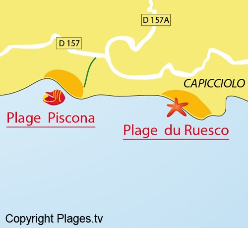Map of Spiaggia Piscona a Olmeto
