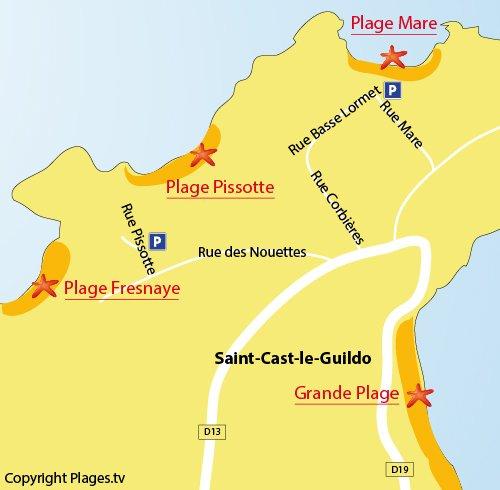 Carte de la plage de la Pissotte à St Cast le Guildo