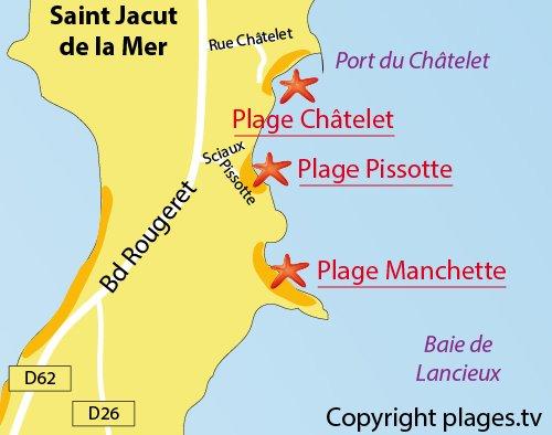 Map of Pissotte Beach in St Jacut de la Mer