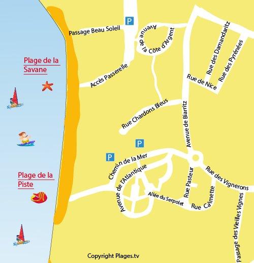 Carte de la plage de la Piste à Capbreton