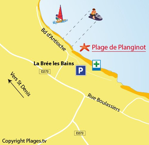 Map of Planginot Beach in Brée les Bains