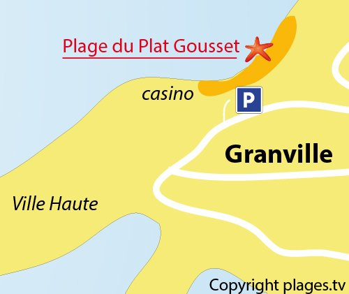 Map of Plat Gousset Beach in Granville