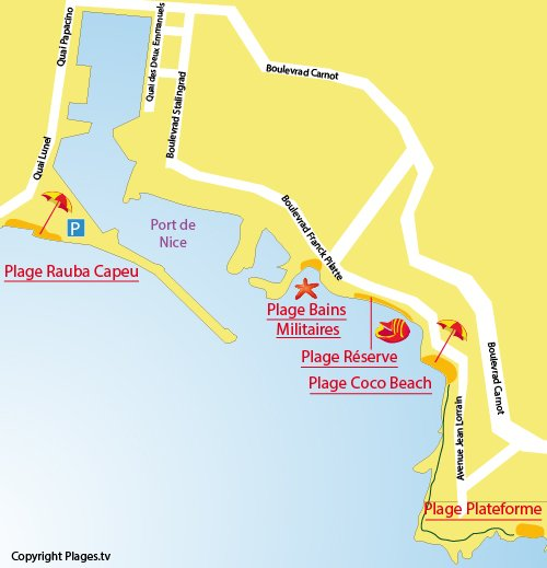 Plan de la plage au niveau du Cap de Nice