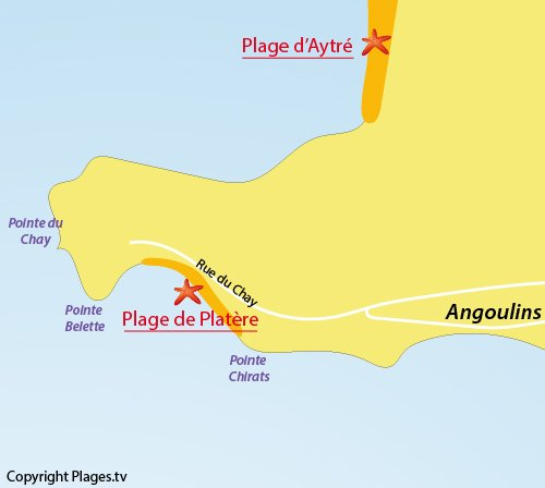 Map of Platere beach in Angoulins