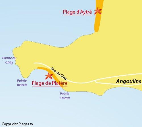 Carte de la plage de Platère à Angoulins