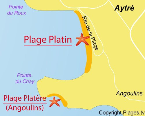 Carte de la plage de Platin à Aytré